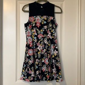 Navy Floral Dress with Pockets